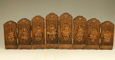 8 piece kwan-yin Wood buddha collectable statue table blessing decoration