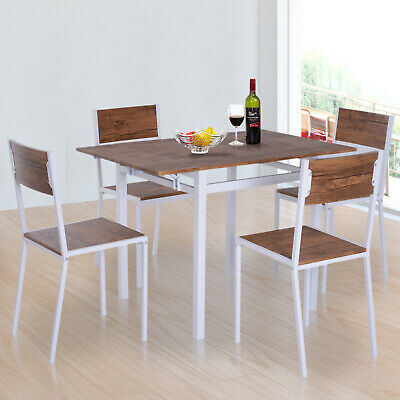5Pcs Drop-leaf Dining Set Wooden Bar Expandable Table Chair Kitchen Walnut