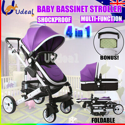 AU Baby Kids Toddler Pram Stroller Jogger Ride on Toys With Bassinet Travel New