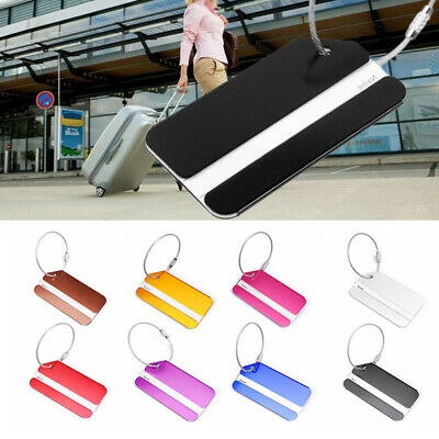 US Aluminium Luggage Tags Suitcase Label Name Address ID Bag Baggage Tag Travel