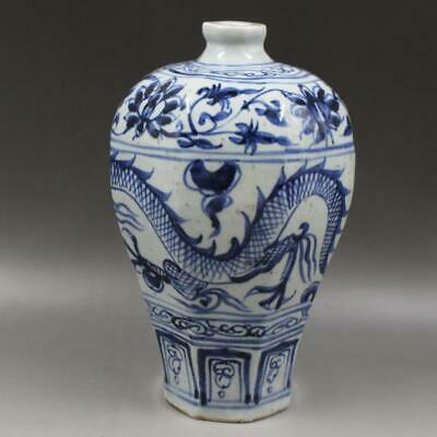 Chinese ancient antique hand make Blue and white Dragon pattern vase s405