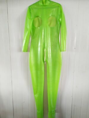 Latex Gummi Rubber Anzug BodySuit Apple Green Overall Ganzanzug Hollow Catsuit