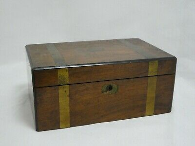 Victorian Oak Writing Slope with Brass Fittings & Glass Inkwell (CR120)