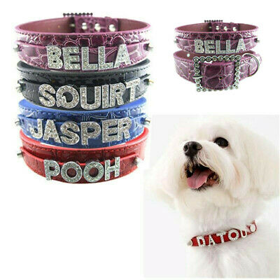 Pet Dog Cat Personalized Croc DIY Name Rhinestone Buckle PU Leather Collar