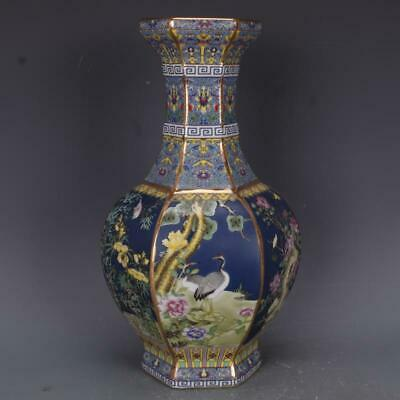 Chinese ancient antique hand make Enamel  Flower and bird vase s414