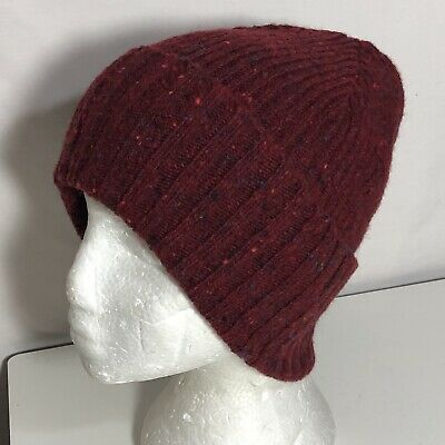 OS Drakes Men's Donegal Soft Merino Wool Flecked Cuffed Beanie Red Multi