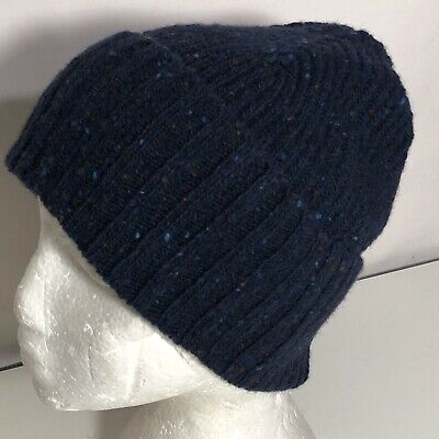 OS Drakes Men's Donegal Soft Merino Wool Flecked Cuffed Beanie Blue Multi