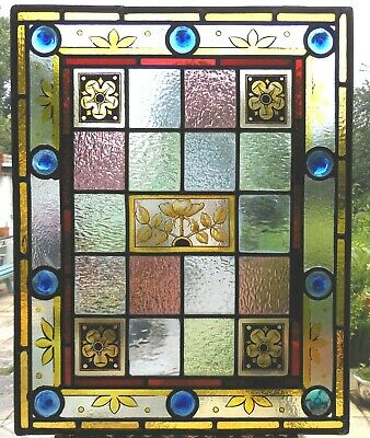 Beautiful Original Antique Stained Glass Panel - Ref Sg396