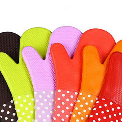 Cooking Silicone Heat Resistant Oven Gloves Double Long Cuffs Waterproof Mitts