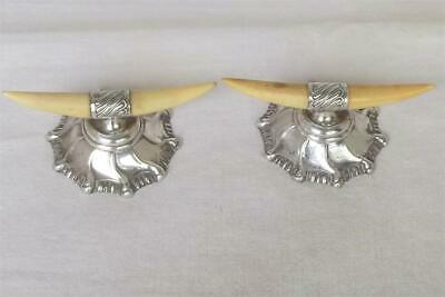 A Lovely Antique Pair Of Sterling Silver Victorian Horn Knife Rests Dates 1897.