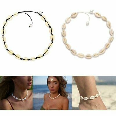 Beach Sea Shell Pendant Clavicle Choker Necklace Bracelet Anklet Jewellery Set