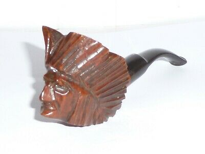 Ancienne pipe tête d'indien bois sculpté à la main,vintage pipe indian head