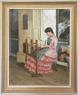 Young Seamstress Antique Oil Painting Reinhold Callmander (Swedish, 1840-1922)