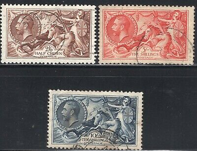 GB KG V 1934 Re-Engraved: Seahorse : Waterlow: SG 450-452 : FINE USED