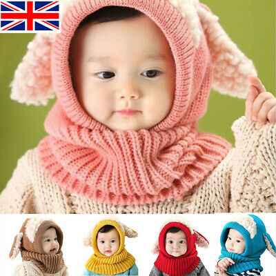 Toddler Winter Baby Kids Warm Hat Girls Boys Hooded Scarf Beanie Caps Hats Cap