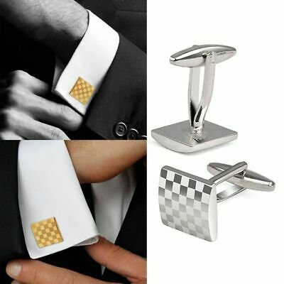 Fashion Silver Square Grid Cufflinks Men's Wedding Party Shirt Suit Cuff Links