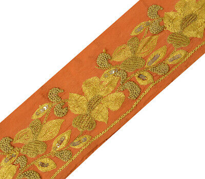 Antique Vintage Saree Border Indian Craft Trim Hand Embrodiered Rust Ribbon Lace