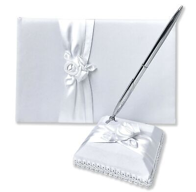Wedding Guest Book and Pen Set   Elegant Guest Book Wedding Set with Lined Pa...