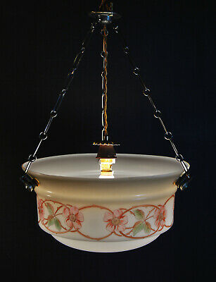 beautiful 1940s all original art deco Opaline cased glass lantern light pendant