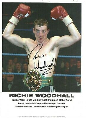 Richie Woodhall signed 8x12 colour photo pictured celebrating. AK1217