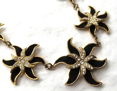 Vtg ANTIQUE Necklace Flower Art Deco or Victorian Rhinestone Jewelry lot s