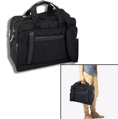 Black Briefcase Expandable 16 Inch Nylon Computer Bag Laptop Case Should Strap