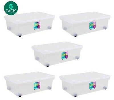 Plastic Storage Boxes Lids Home Storage Solutions Stacking Containers Wheels 32L