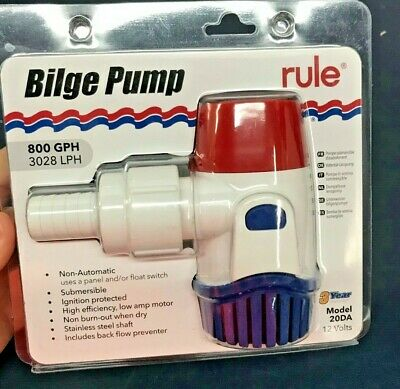 Rule 20DA Bilge Pump 800GPH 12V No-Automatic Boat Marine Submersible Fountain MD
