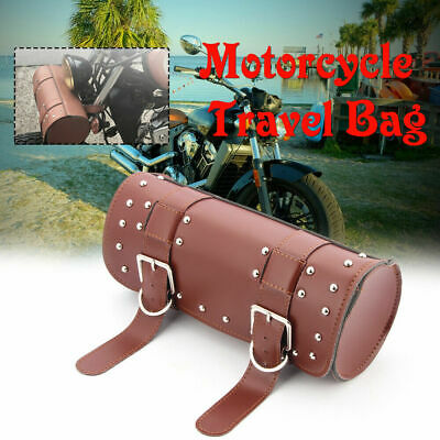 Universal Motorcycle PU Leather Front Fork Tool Bag Pouch Luggage Saddle Bag