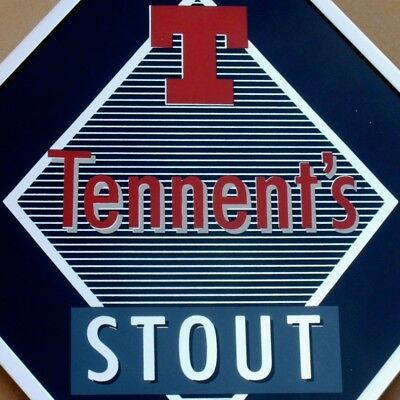 TENNENT'S STOUT Beer Altes Glasschild GB. Glasgow 70er PERFEKT Bier Brauerei RAR