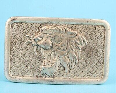 Retro China Tibetan Silver Belt Buckle Tiger Mascot Lady Decorated Collection