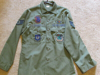 VTG WWII 81st Fighter Squadron DENIM JEAN GREEN US NAVY USN BUTTON SHIRT
