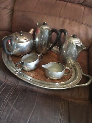 superb Hammered Design liberty & co tudric pewter complete tea set Circa 1915