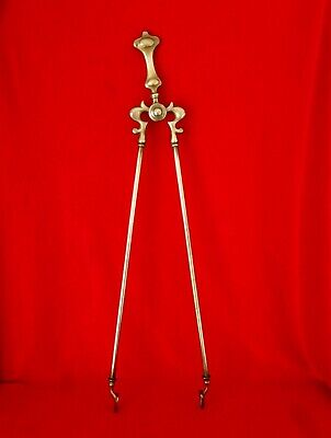 Fine Quality Pair Of Large Antique Victorian Ornate Cast Brass Fire Tongs 66cm
