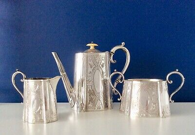Stunning Mid 19th Century Chased Silver Plated Coffee Set ATKIN BROTHERS c1860