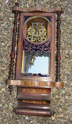Antique inlaid wall clock Caledonian Registered restoration project old clock