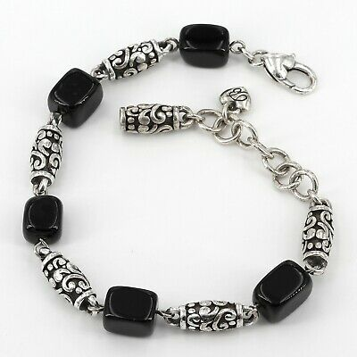 Brighton Bracelet with Silver Plated Barrel Links & Black Onyx Cube Beads