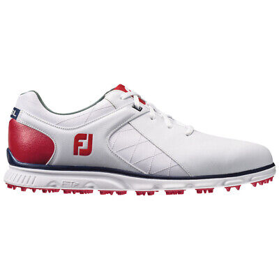 Footjoy Pro/Sl Spikeless Golf Shoes White/Red/Navy - Choose Size & Width