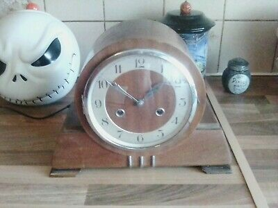 VINTAGE ART DECO PENDULUM MANTLE CLOCK no  KEY