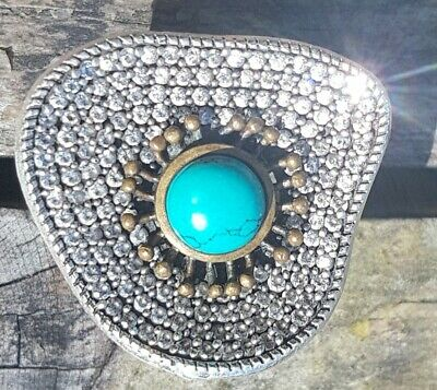 Stunning Vintage Antique Art Deco Turquoise Sterling Silver S.5 T Ring Diamante