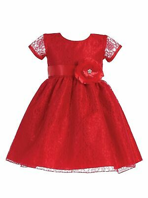 Lito Baby Girls Lace Covered Glitter Flower Accent Christmas Dress 6-24M