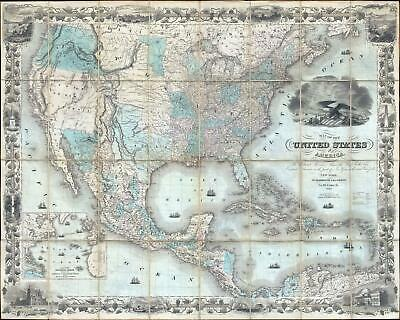 1849 Colton Map of United States (Texas at Fullest) (First Edition) (Gold Rush)