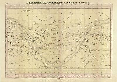 1835 Burritt / Huntington Map of the Celestial Planisphere