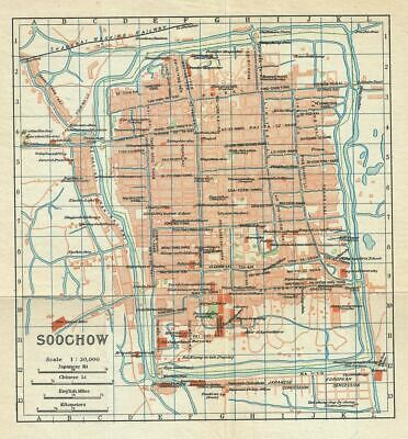1924 Imperial Japanese Railway Map of Suzhou or Soochow or Suchow, China