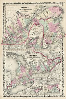 1861 Johnson Map of Upper Canada, Lower Canada and New Brunswick
