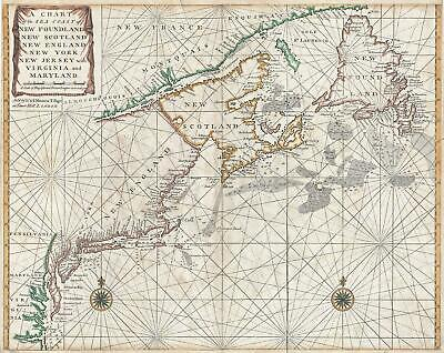 1750 Mount and Page Map of Chesapeake Bay, New York, New England, and Canada