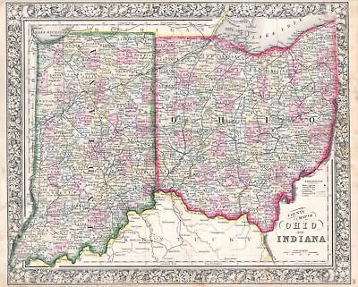 1864 Mitchell Map of Ohio and Indiana