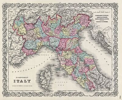 1856 Colton Map of Northern Italy and Corsica