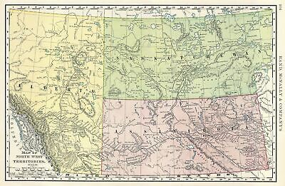 1891 Rand McNally Map of the Northwest Territories of Canada