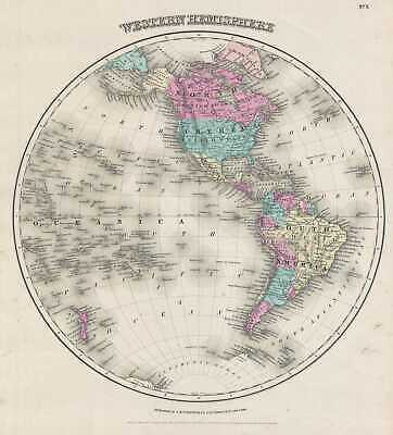 1857 Colton Map of the Western Hemisphere or Americas